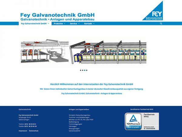 Webdesign für Fey Galvanotechnik Solingen