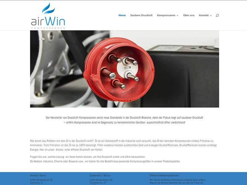Webdesign für Airwin Kompressoren Velbert