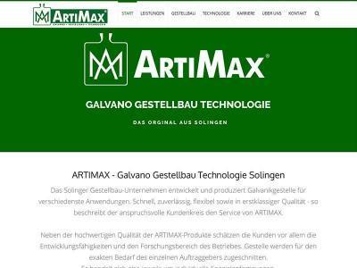 Webdesign für ARTIMAX