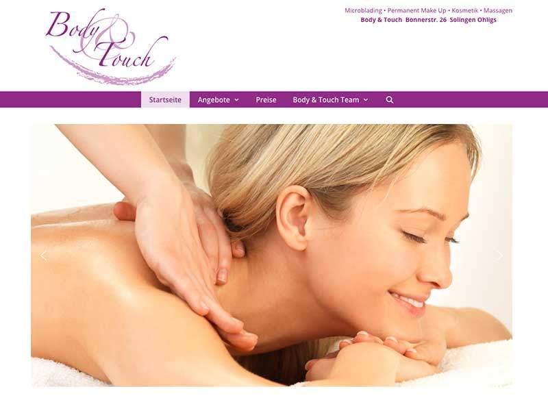 Webdesign für Body&Touch Solingen