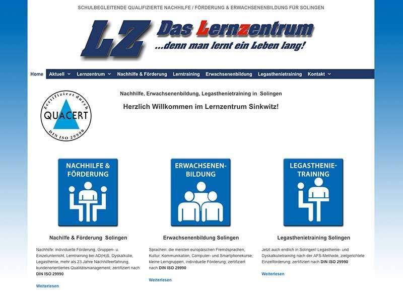 Webdesign für Lernzentrum Sinkwitz Solingen
