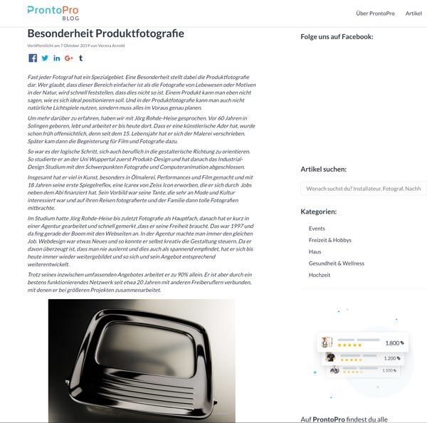 Besonderheit Produktfotografie