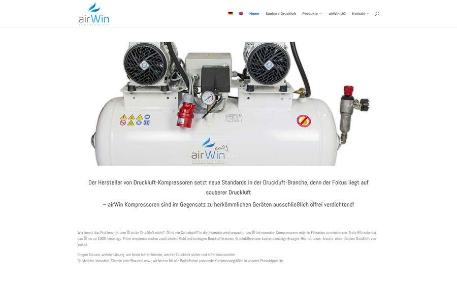 Multilinguale Website für airWin Kompressoren DE / GB