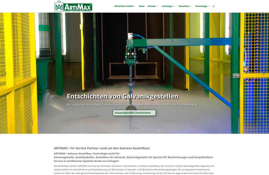 Webdesign Reload für Artimax Galvano Gestellbau Technologie